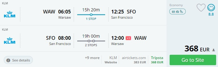 cheap flights to san francisco from warsaw