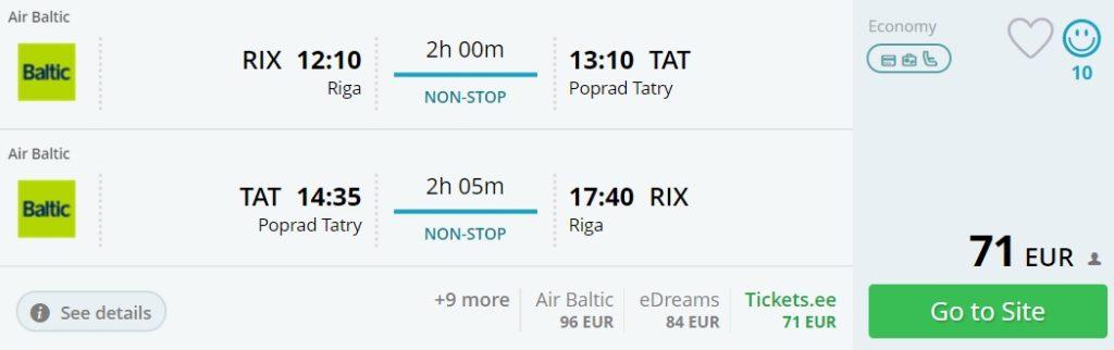 cheap flights to tatry from riga