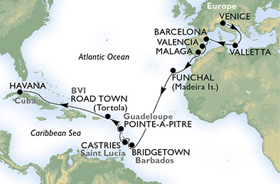 cruise from italy to Caribbean