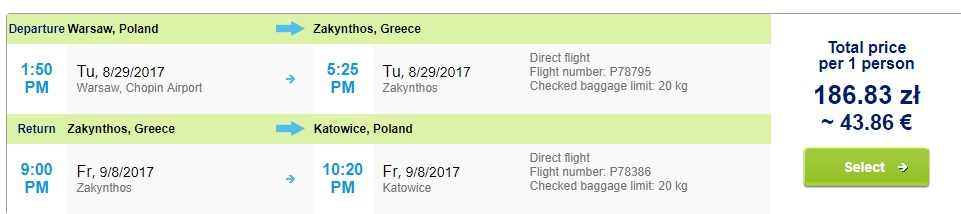 direct flight poland zakynthos