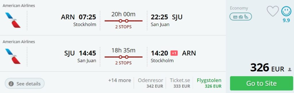 flight tickets to puerto rico from stockholm