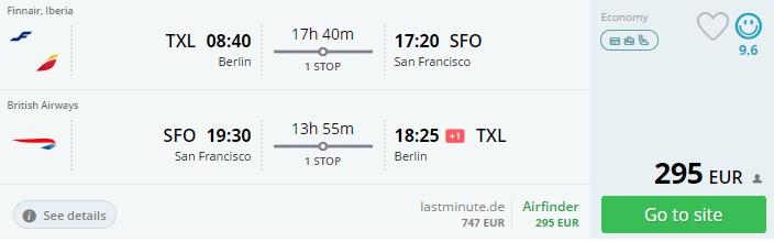 flight tickets to san francisco from berlin