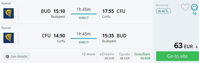 flights Budapest CORFU
