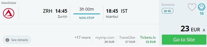 flights from zurich to istanbul