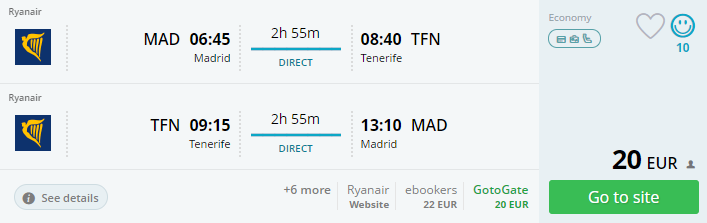 direct flights to CANARY ISLANDS