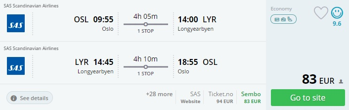 cheap flights from oslo to svalbard