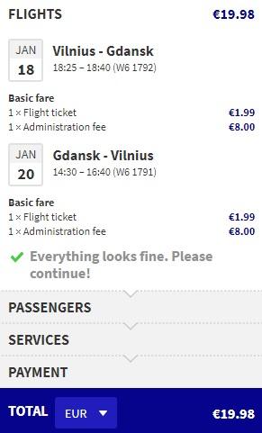 flights from Vilnius to GDANSK
