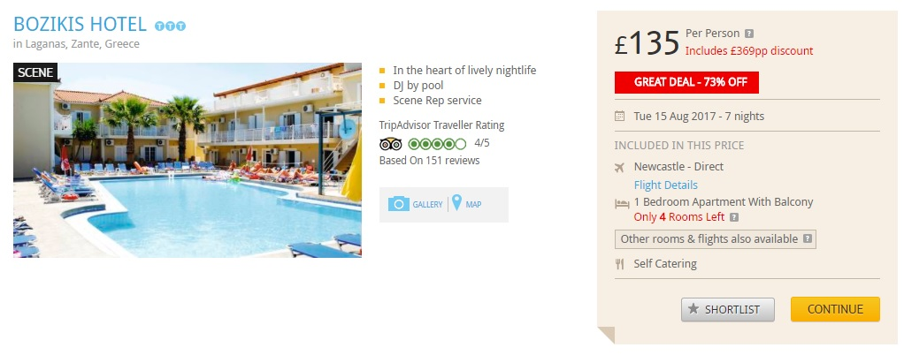 holiday package from newcastle to zakynthos