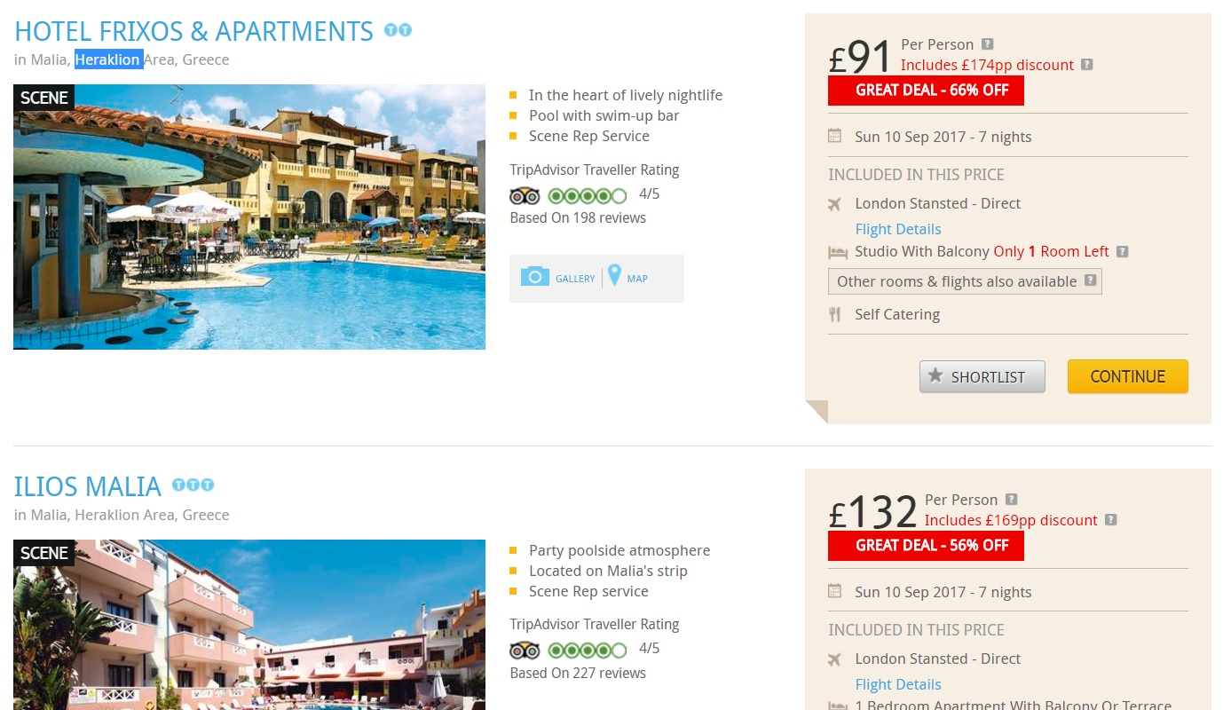 holiday package london to crete