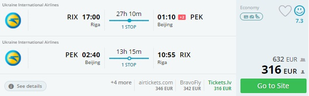 Cheap flights from Riga to CHINA