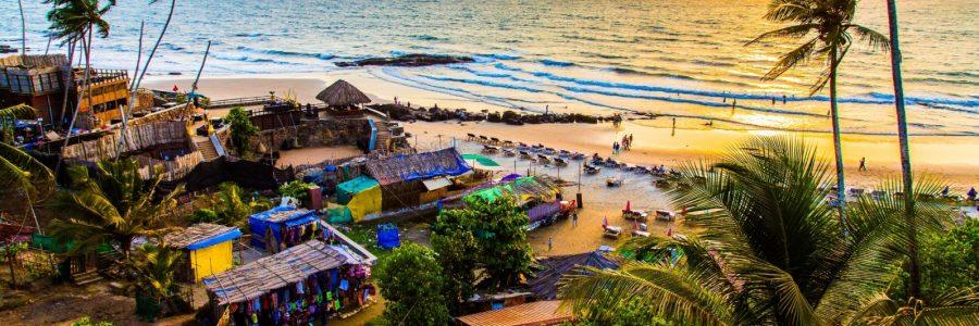 Pacific Ocean in the seaside of Anjuna, Goa, India