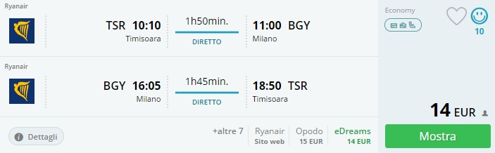 cheap flights from romania to milan