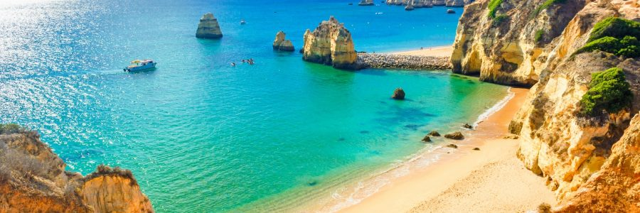 Beautiful sandy beach near Lagos in Panta da Piedade Algarve region Portugal