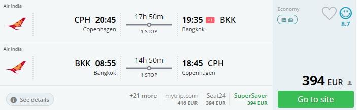 flights from copenhagen to bangkok