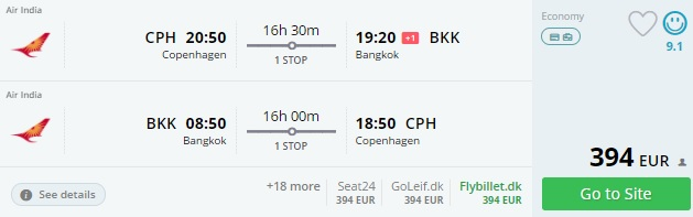 tickets to thailand from copenhagen