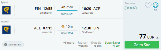 eindhoven to canary islands
