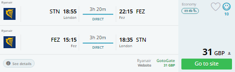london to morocco