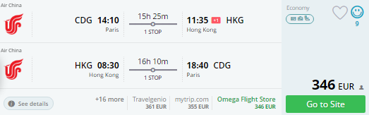paris to hong kong