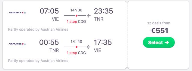 Flights from Vienna, Austria to Antananarivo, Madagascar