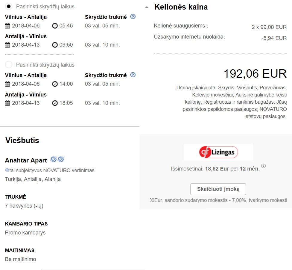 Vilnius to Antalya