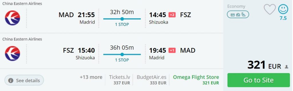 cheap flights from madrid to japan