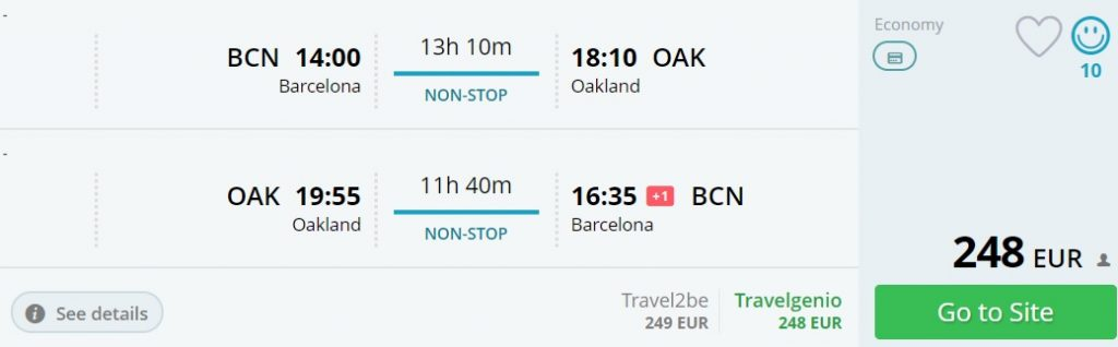 direct flights barcelona san francisco
