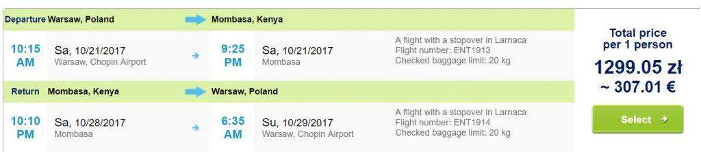 direct flights to kenya from warsaw