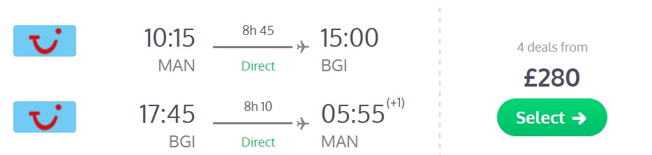 direct flights uk barbados