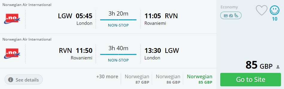 flight tickets to lapland