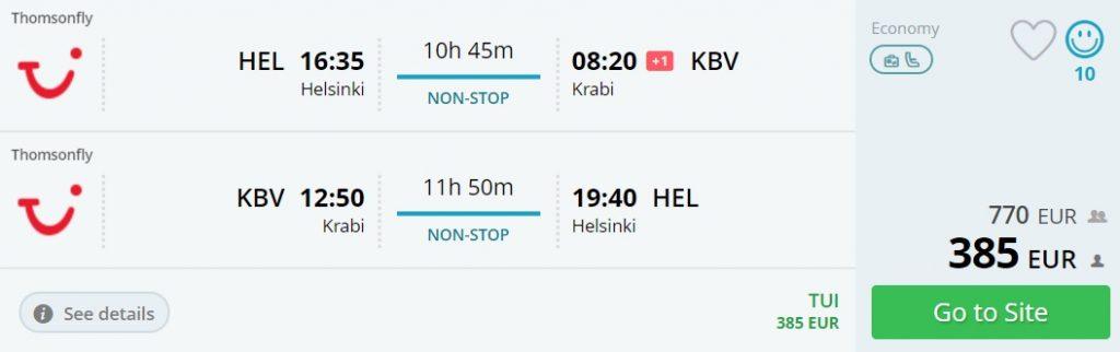 flights helsinki krabi