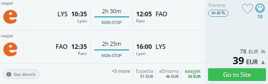 lyon to faro flights