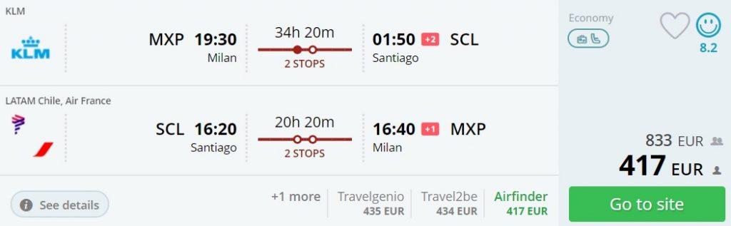 cheap flights milan chile