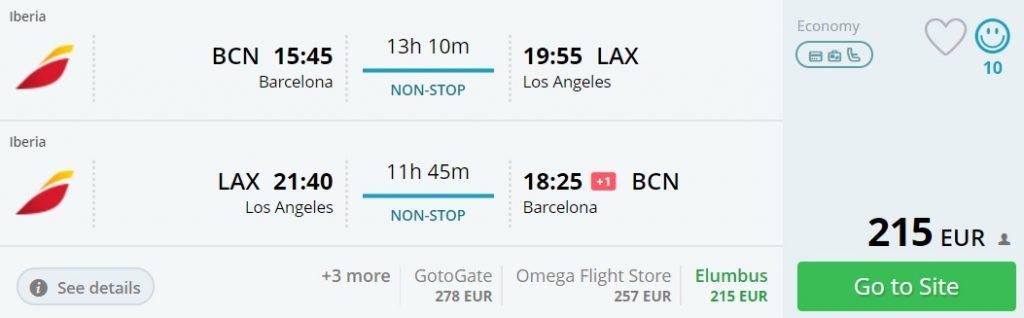 direct flights barcelona los angeles
