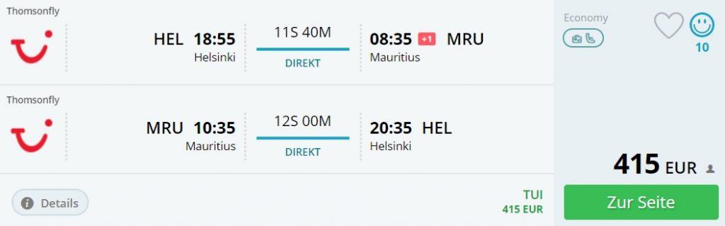 direct flights helsinki mauritius