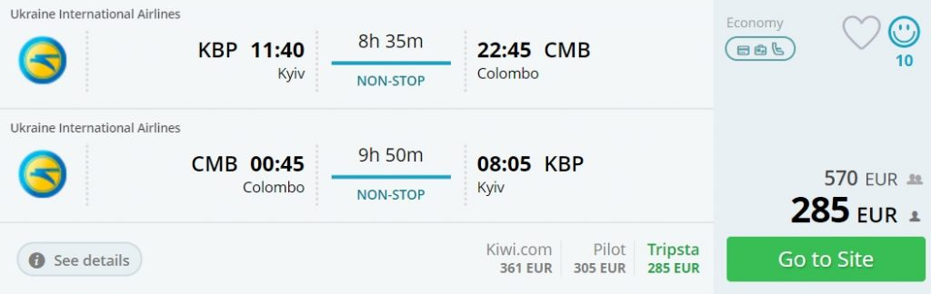 direct flights kyiv colombo sri lanka