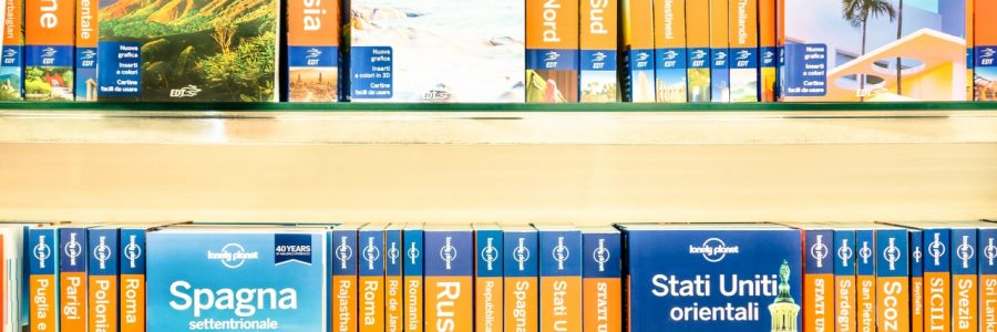 Lonely Planet Book Guides On A Shelf