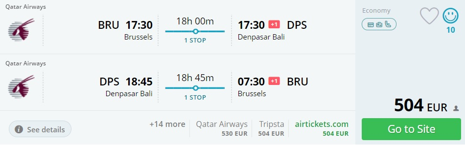 brussels to bali