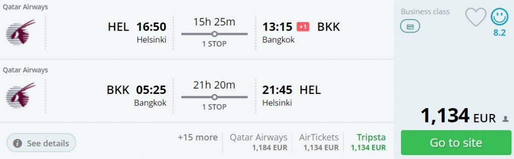 business class flights helsinki bangkok thailand