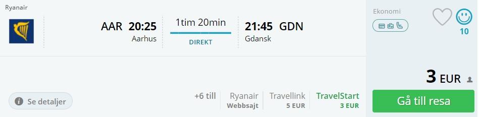 cheap flights aarhus gdansk