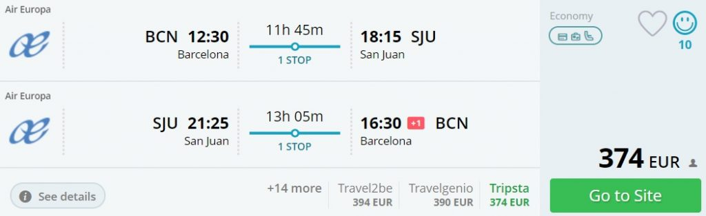cheap flights barcelona puerto rico