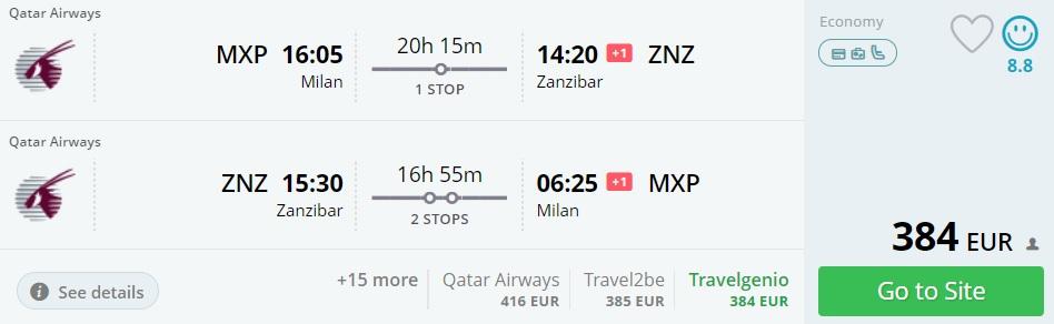 cheap flights milan zanzibar