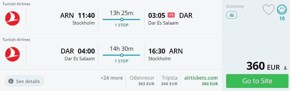 cheap flights stockholm tanzania turkish airlines