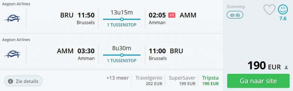 cheap flights to jordan from brussels