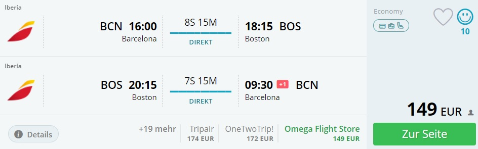 direct flights barcelona boston