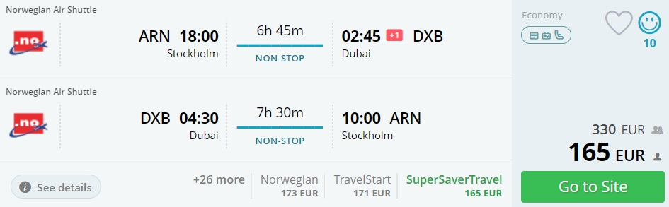 direct flights from stockholm to dubai