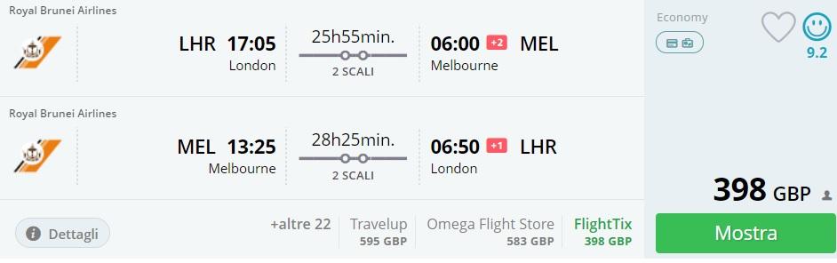 error fare flights to australia from london