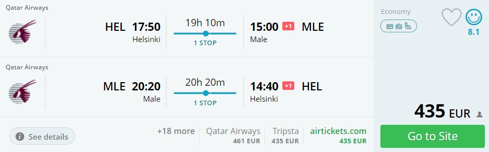 flight tickets to maldives from helsinki