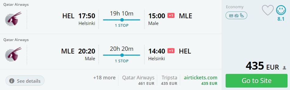 Flight Tickets To Maldives From Helsinki Travelfree