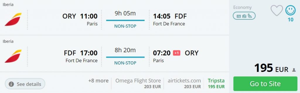 flights from Paris to Guadeloupe