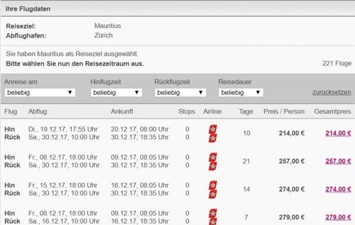 flights from zurich to mauritius